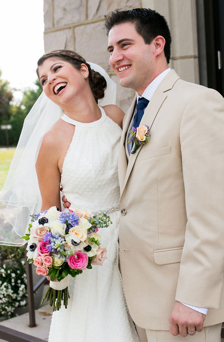 Alison & Tony's Traditional Wedding | Newlyweds Smiling
