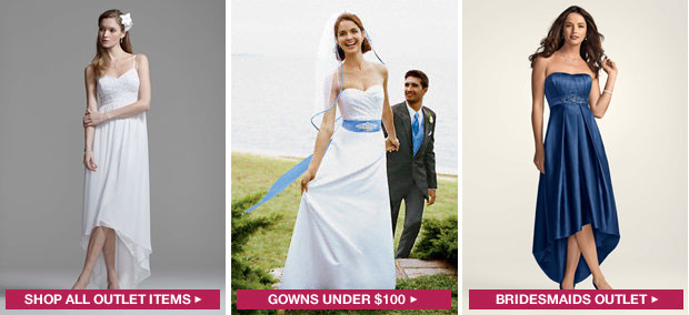 Save time and money by shopping the outlet at David'sBridal.com. Browse discount wedding dresses, bridesmaid dresses & more at David's Bridal!