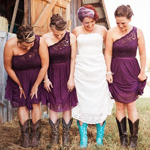Lace Bridesmaid Dresses For A Rustic Wedding