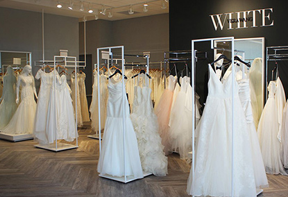 Interior of David's Bridal with Dresses on Racks