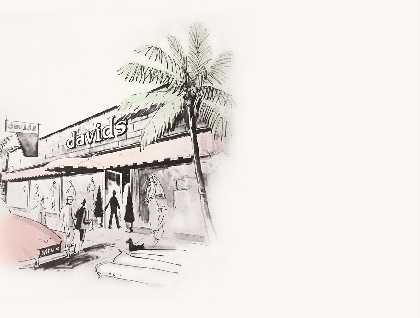 Drawing of original David's Bridal store