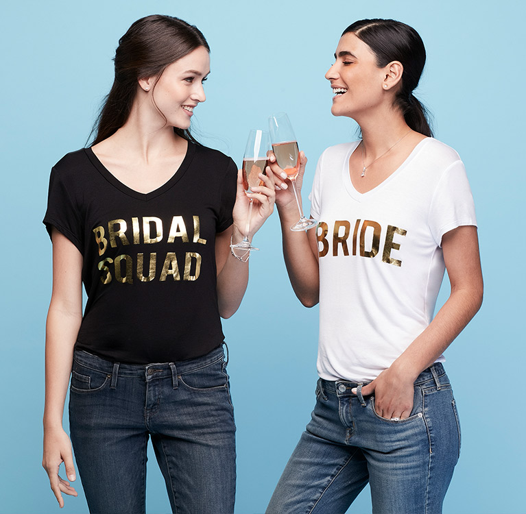 Bride and Bridesmaid in Black and White T Shirts