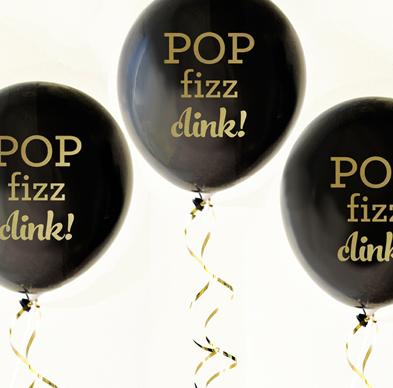 Black Pop Fizz Clink Balloons