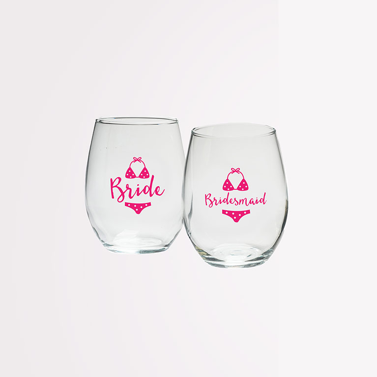 Bride and Bridesmaid Stemless Wine Glasses