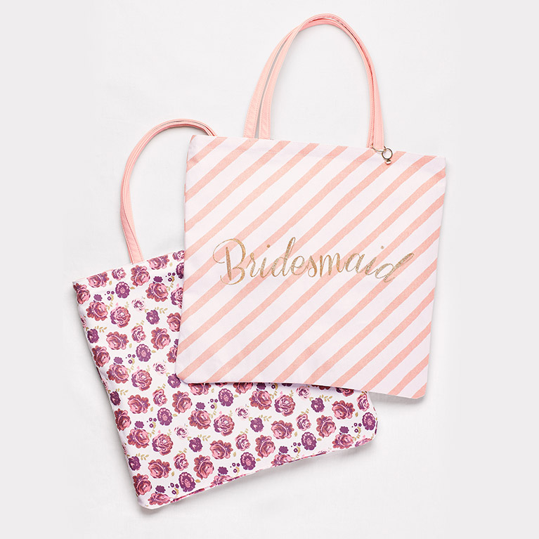 Pink Bridesmaid Tote Bags