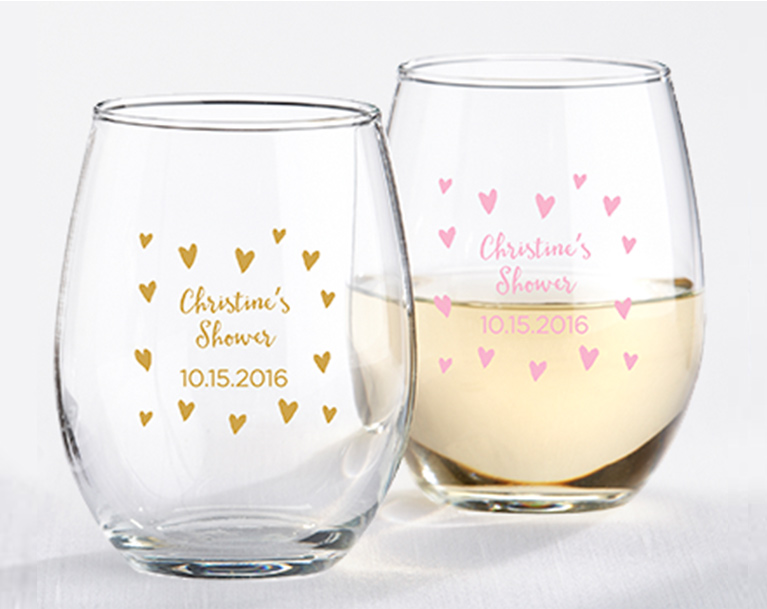 Personalized Stemless Wine Glasses with Heart Decals