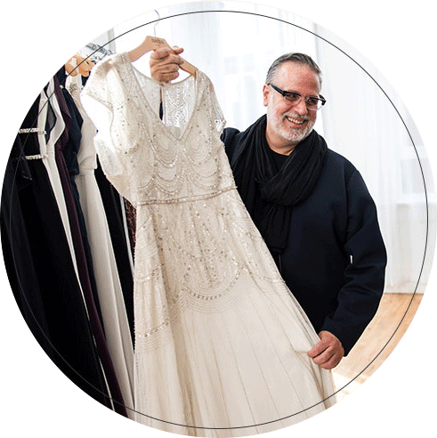 David's Bridal VP of Design with Beaded Gown
