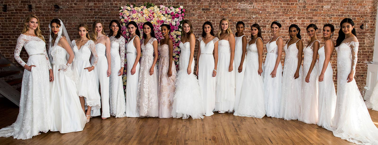 Large group shot of all Spring 2017 new Bridal Gowns