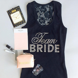 Display of many bridal party gifts