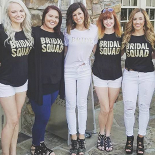 Bridesmaids and Brides in T-shirts that say Bridal Squad