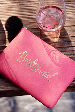 Hot pink handbag embossed with Bridesmaid
