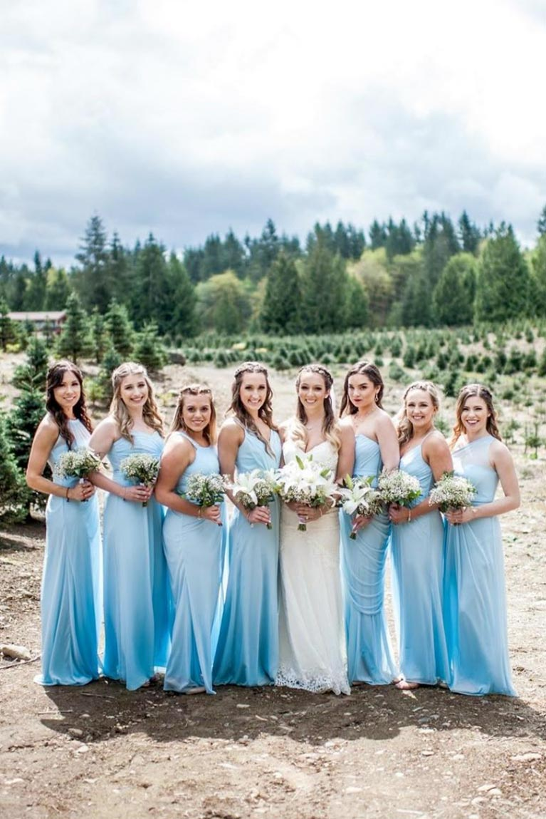 febaaad424c Real Bridesmaids Blue Dresses