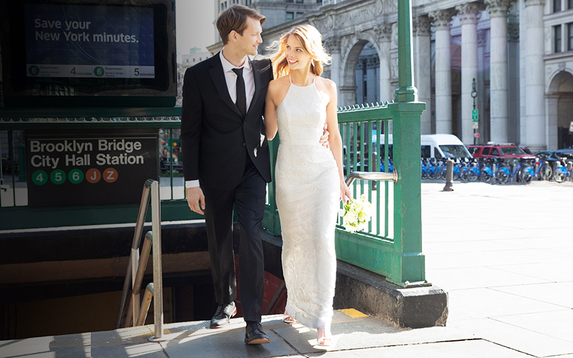 daf2c4d787902 Bride and Groom walking out of subway to city hall and courthouse wedding.