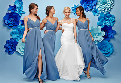 Bride and 3 Bridesmaid in Blue Dresses