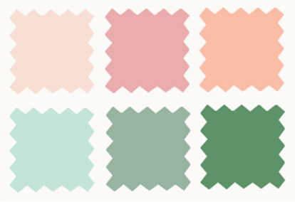 6 Color Swatches From Pink to Green