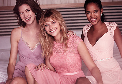 3 Mismatched Bridesmaid Dresses in Purple and Pink