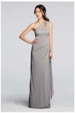 Bridesmaid Wearing A One Shoulder Mercury Grey Dress