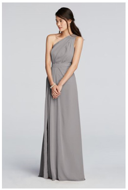 Bridesmaid Wearing A Mercury Grey Dresses Diffe Styles