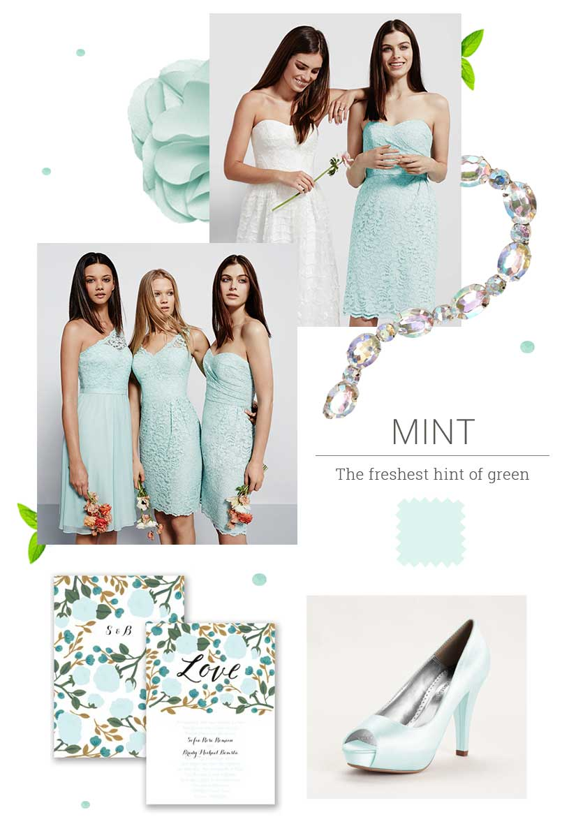 How to do same color different style bridesmaid dresses bridesmaids wearing mint green dresses in different styles with wedding invites and peep toe heels ombrellifo Gallery