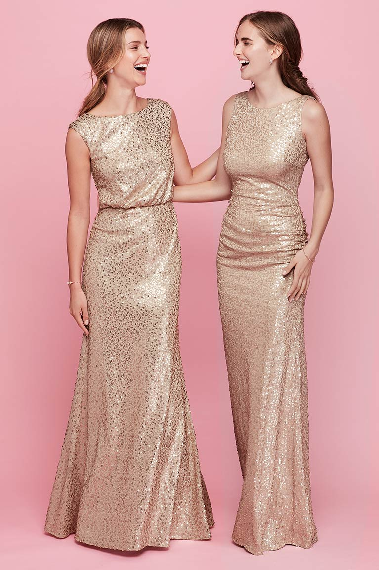 Two women in sequined bridesmaid dresses