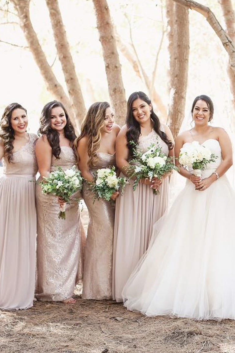 Fall autumn wedding colors ideas inspiration davids bridal a bride and four bridesmaids in the forest ombrellifo Image collections