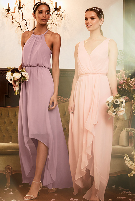2e2cba5519af8 Bridesmaids in purple and pink dresses walking with flowers ...