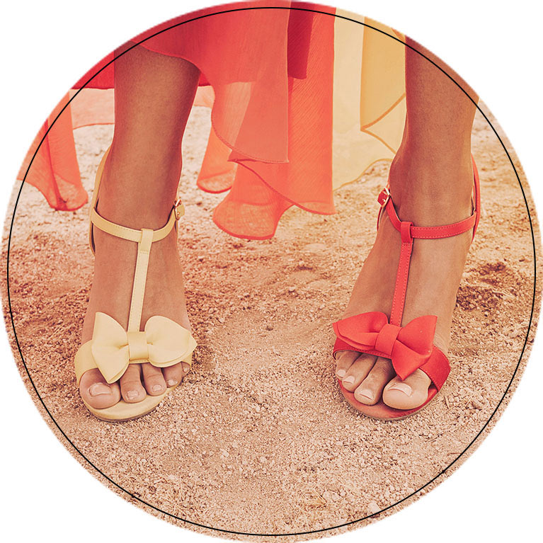 Close up of high heels in the desert