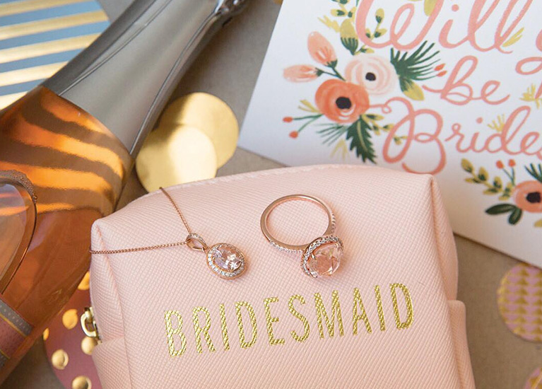 Bridesmaid jewelry bag and card with champagne