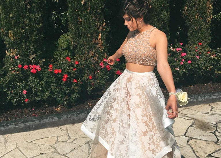 Real prom girl in two-piece lace dress