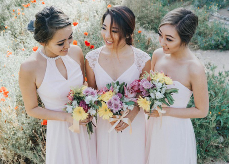 3 real bridesmaids in pink mix and match dresses