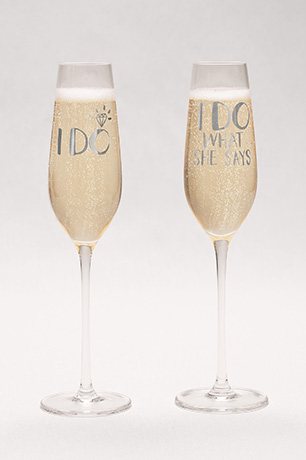 Toasting Flutes with Decals
