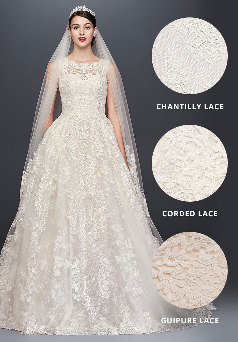 Lace bridal gown on model with insets for chantilly, corded and guipure lace