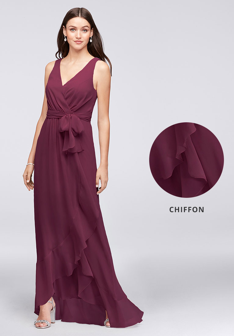 Chiffon bridesmaid dress in wine with closeup view of soft flowing fabric