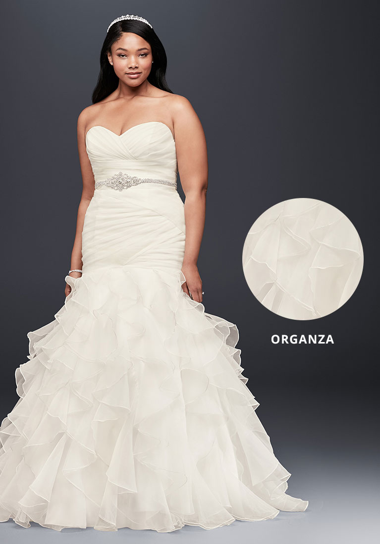 Organza mermaid wedding dress with closeup fabric view