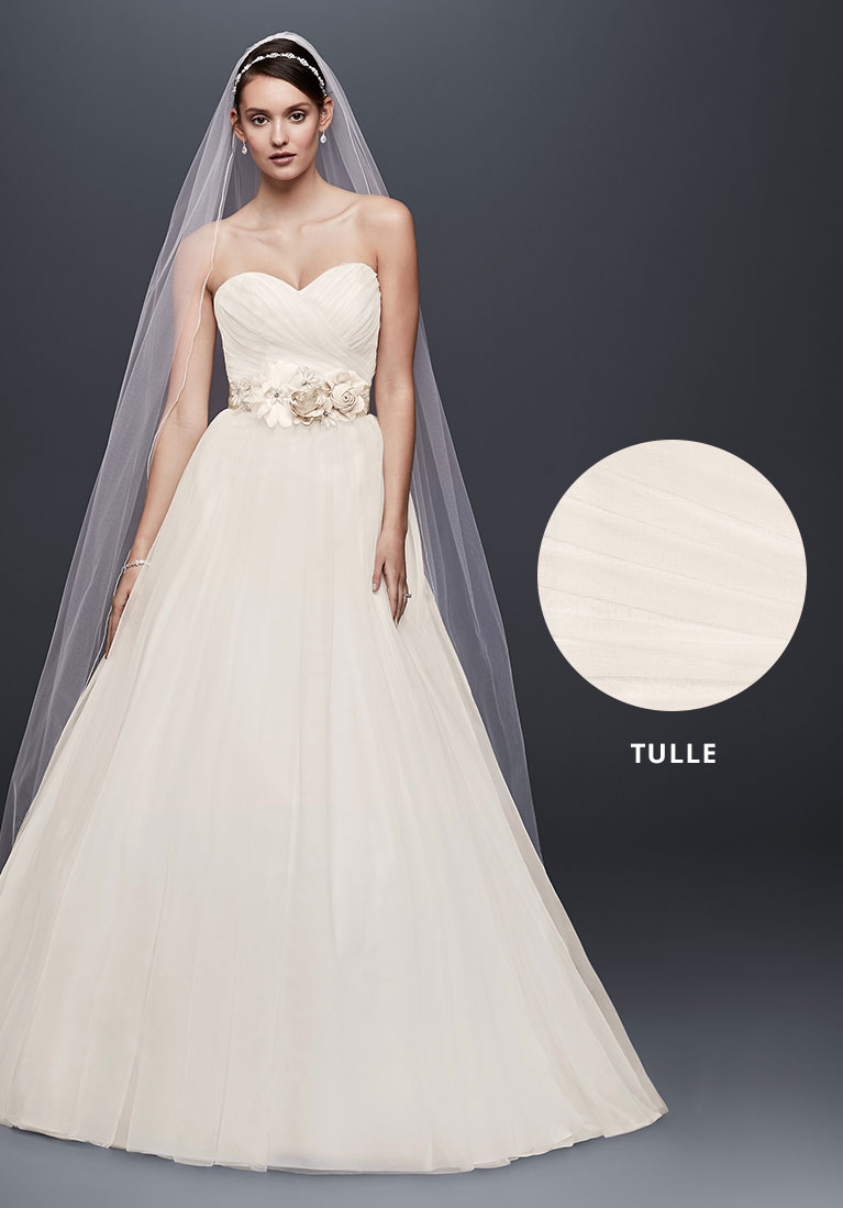 Tulle wedding gown with closeup fabric view