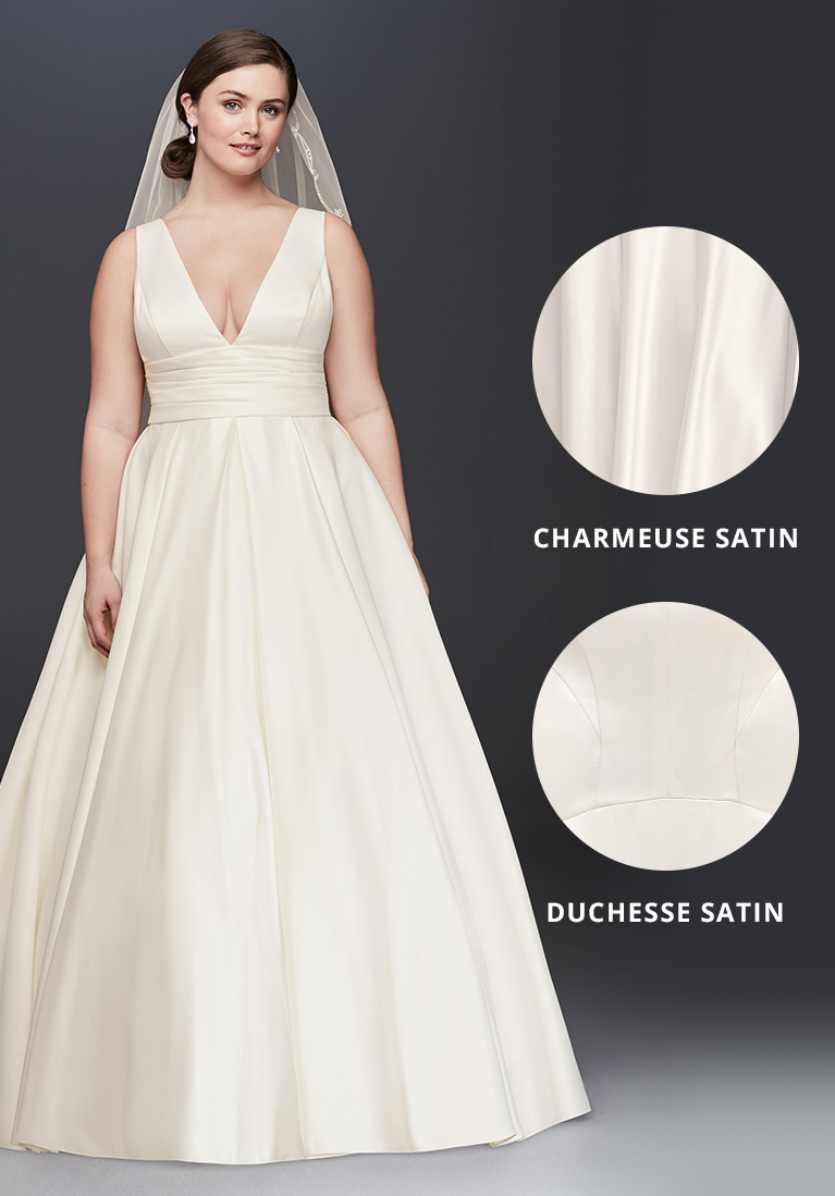 Satin A-line gown with closeup view of charmeuse and duchesse satin