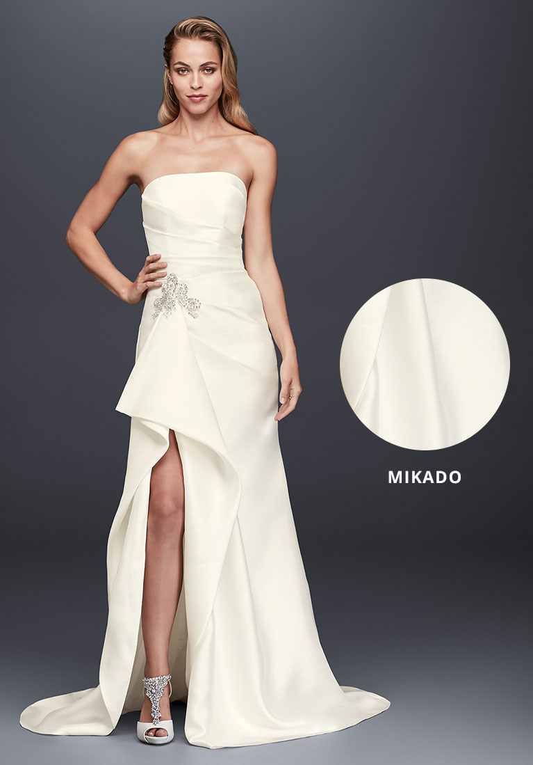 Mikado wedding gown with closeup view of the structured fabric