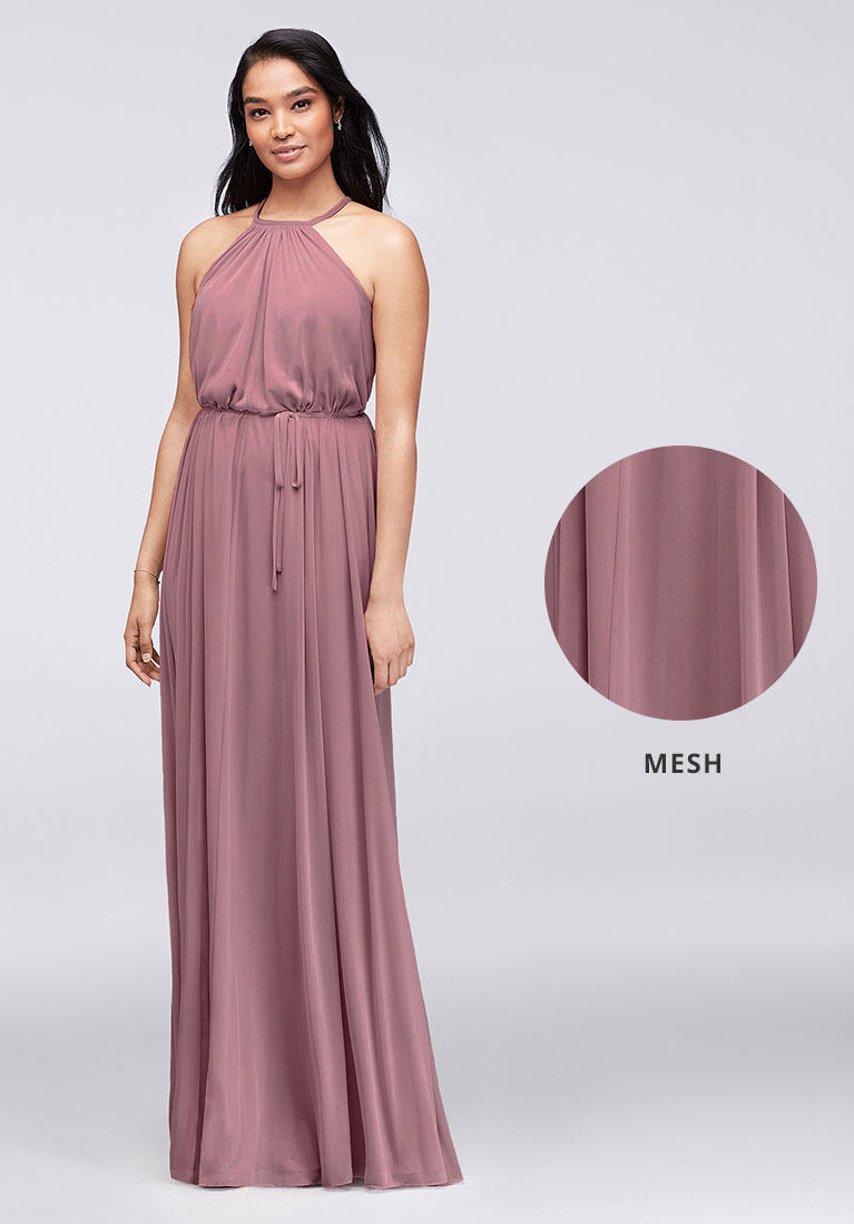 Mesh bridesmaid dress with closeup view of soft flowing fabric