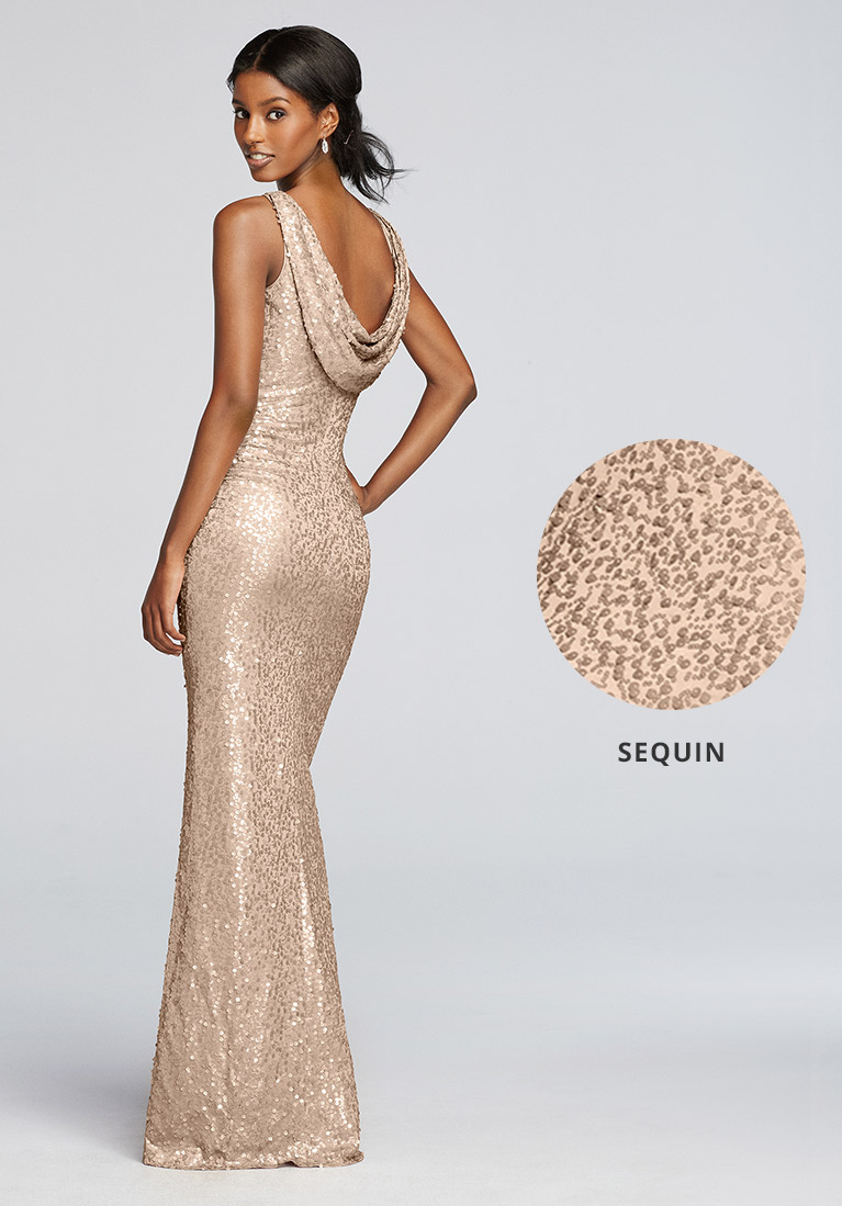 Sequin bridesmaid dress with closeup view of sequins