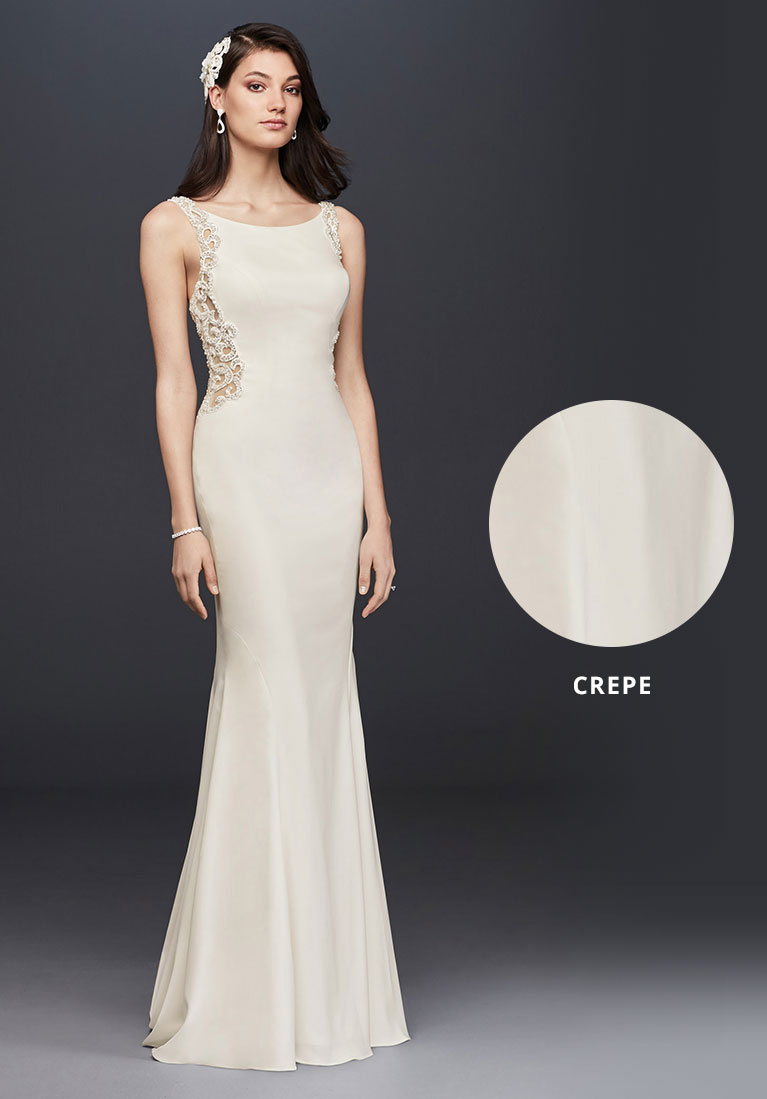 Crepe wedding dress in long sheath style with closeup view of fabric