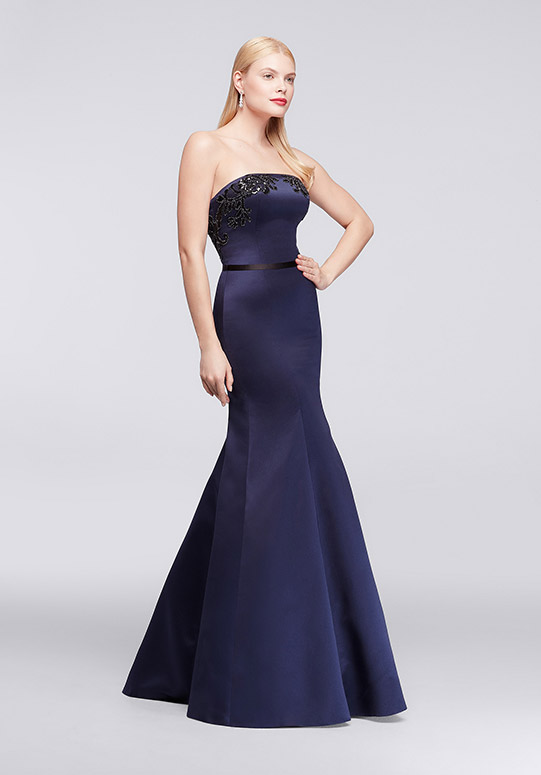 Long, purple mermaid-style strapless satin party dress with appliques