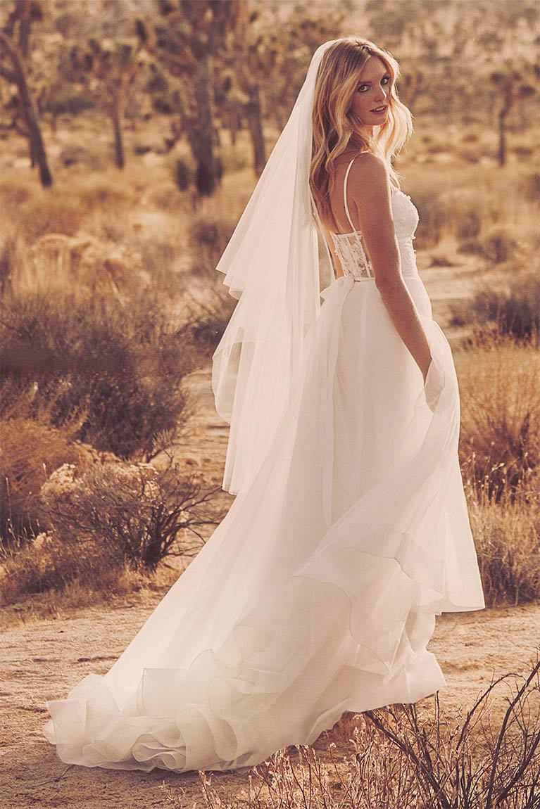 Bride in the desert, looking over her shoulder.