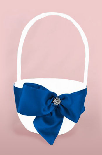 Satin flower girl basket with blue ribbon