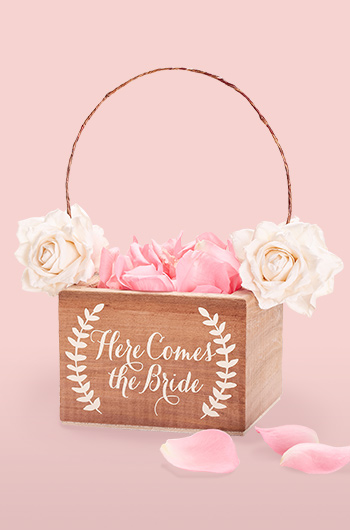 2df95a0c1f Wooden flower girl basket with here comes the bride message