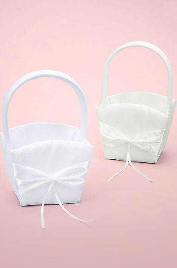 Two satin flower girl baskets