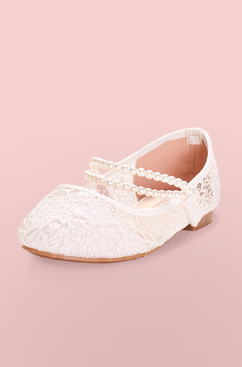 Lace flower girl shoe with pearl straps