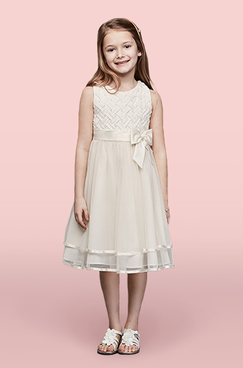 Lattice Bodice Flower Girl Dress with Tiered Tulle Skirt