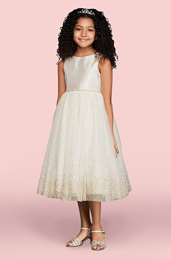 15db942093d Flower girl wearing tulle dress with gold glitter