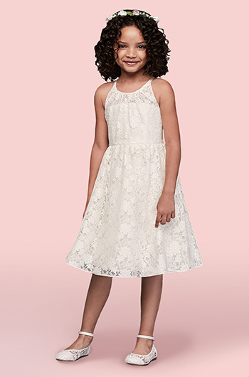 88cab80409c Flower girl wearing lace dress and flower crown