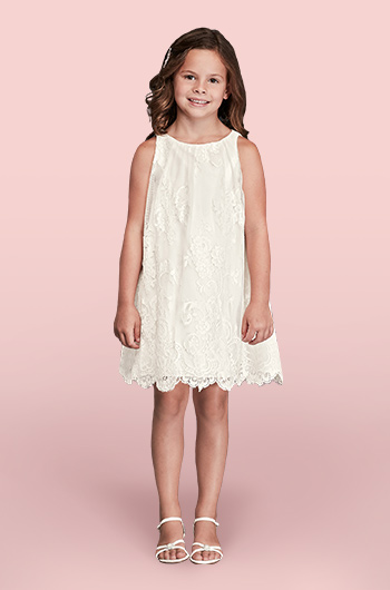 Sleeveless All Over Lace Flower Girl Dress with Scalloped Hem